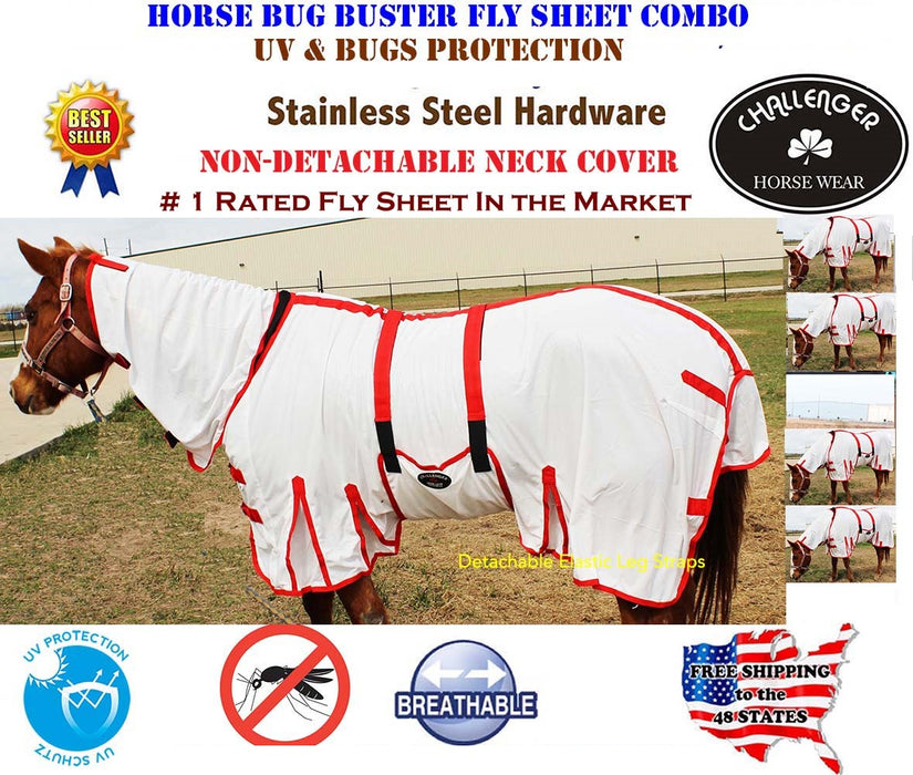 Horse Bug Mosquito Fly Sheet Summer Spring Airflow Mesh UV Neck  73139