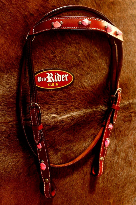 Horse Western Riding Leather Bridle Headstall Breast Collar Tack Pink 76136