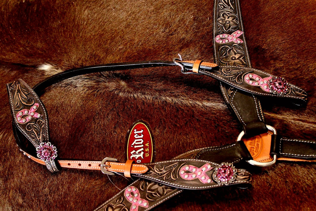 Horse Western Riding Leather Bridle Headstall Breast Collar 1 Ear Pink 76158