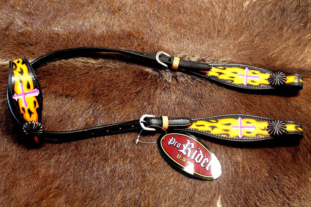 Horse Show Bridle Western Leather Headstall Tack Pink Yellow Cross  76165HA