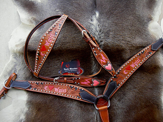 Horse Western Riding Leather Bridle Headstall Breast Collar Tack Pink 7647