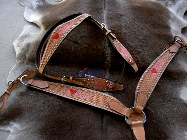 Horse Western Riding Leather Bridle Headstall Breast Collar Tack Pink 7656