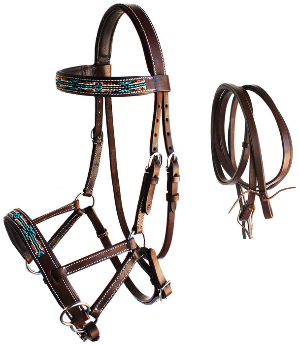 Horse Western Leather Tack Beaded Bitless Sidepull Bridle Reins Brown 77RS10BR