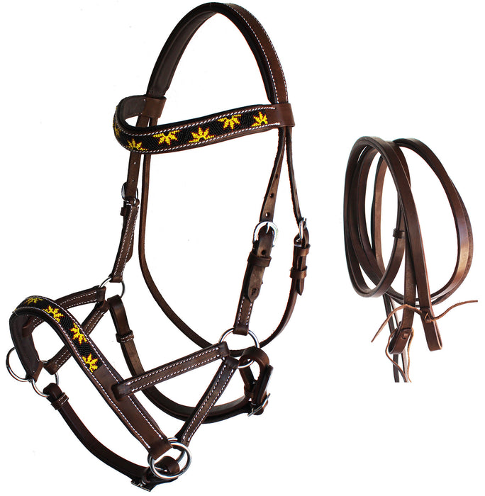 Horse Western Leather Tack Beaded Bitless Sidepull Bridle Reins Brown 77RS24BR