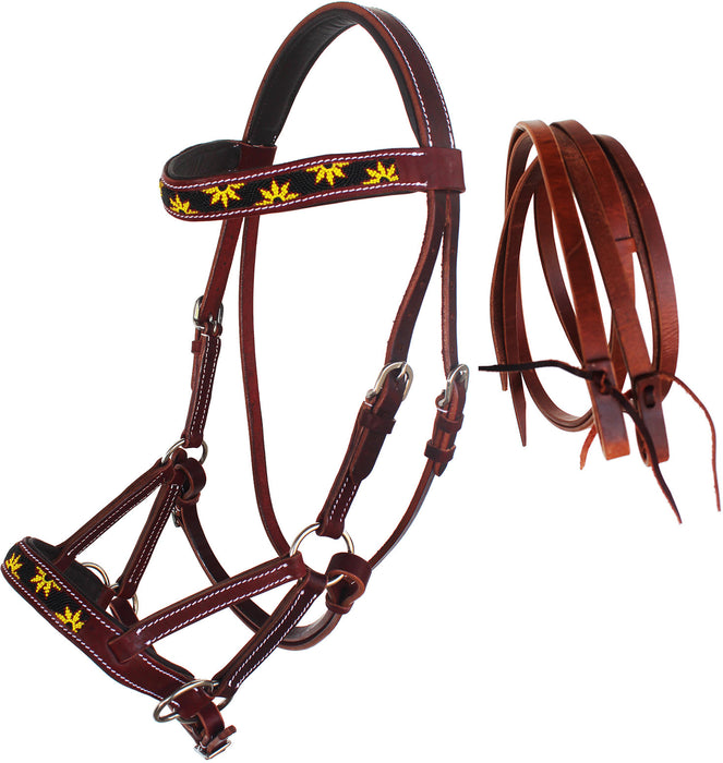 Horse Western Leather Beaded Bitless Sidepull Bridle Reins 77RS24MG-F