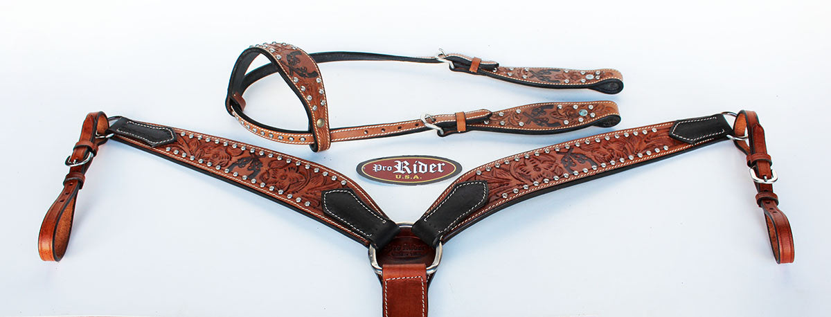 Horse Saddle Tack Bridle Western Leather Headstall BreastCollar 78128A