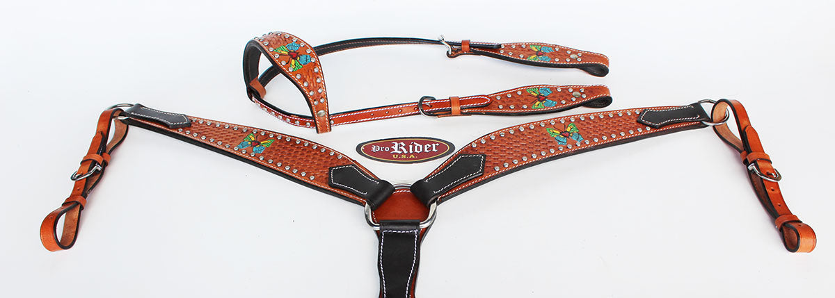 Horse Saddle Tack Bridle Western Leather Headstall BreastCollar 78146A