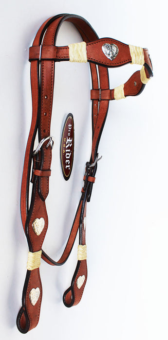 Equine Horse Show Saddle Tack Rodeo Bridle Western Leather Headstall 7878HB