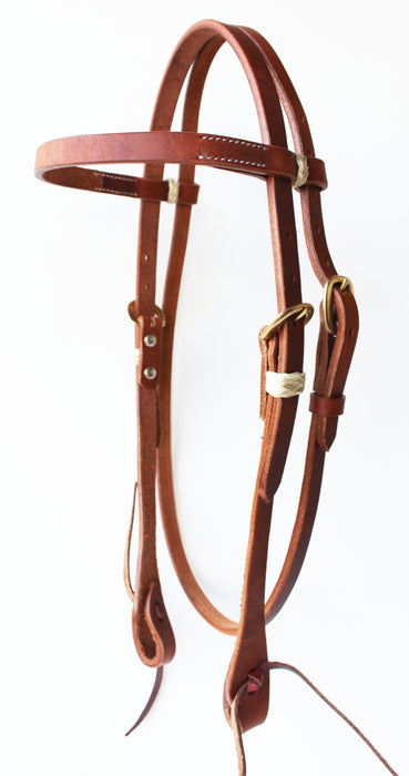 Amish Made USA Leather Horse Saddle Western Headstall Bridle Tack Brass 78RT01