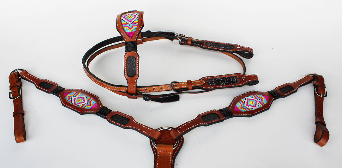 Horse Bridle Western Leather Headstall Breast Collar Show Tack Beaded  7909