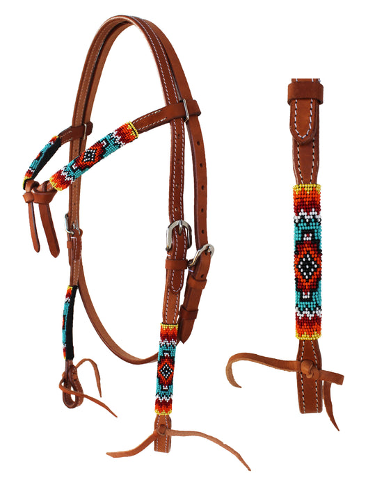 Horse Show Bridle Western Leather Tack Knotted Beaded Browband Headstall 79113HB