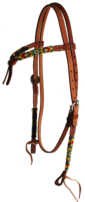 Horse Show Bridle Western Leather Knotted Beaded Headstall Browband 79115-118