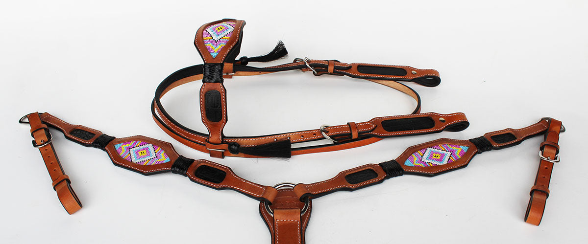 Horse Bridle Western Leather Headstall Breast Collar Tack Beaded Purple BRN 7913