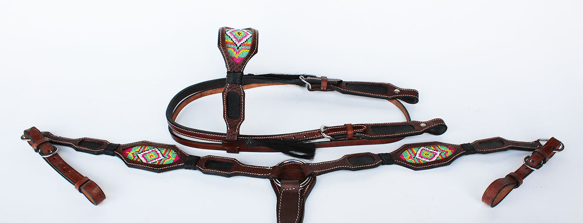Horse Bridle Western Leather Headstall Breast Collar Show Tack Beaded  7917