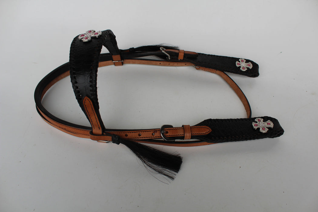 Horse Show Bridle Western Leather Headstall  7959HB