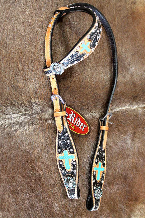 Horse Show Tack Bridle Western Leather Headstall Turquoise 80137H