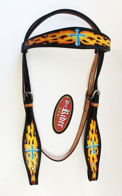 Horse Tack Bridle Western Leather Headstall Turquoise 80171HB
