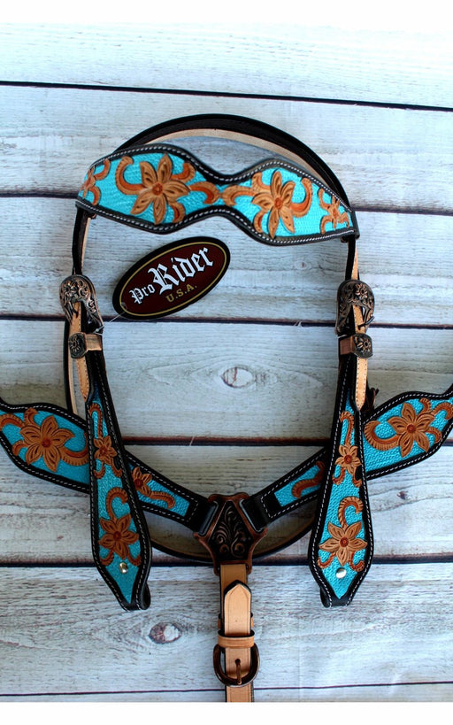 Horse Tack Bridle Western Leather Headstall BreastCollar Turquoise 80183B