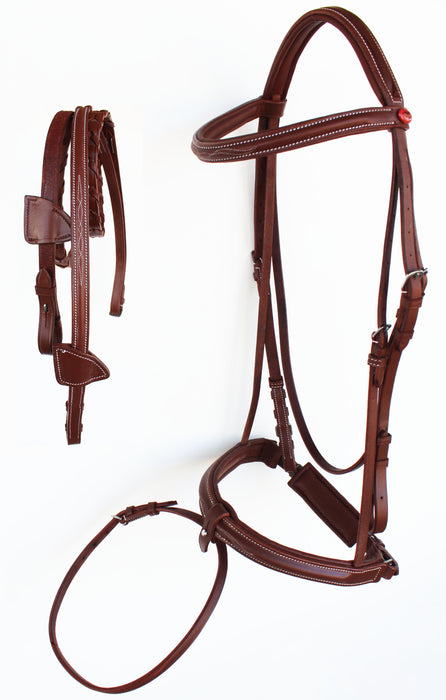 Horse English Padded Leather Raised Flash Bridle Reins Full 803127F