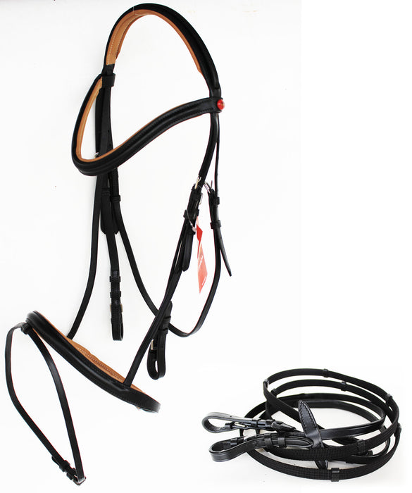 Horse English Padded Leather  Jumping Adjustable Bridle Full 803461F