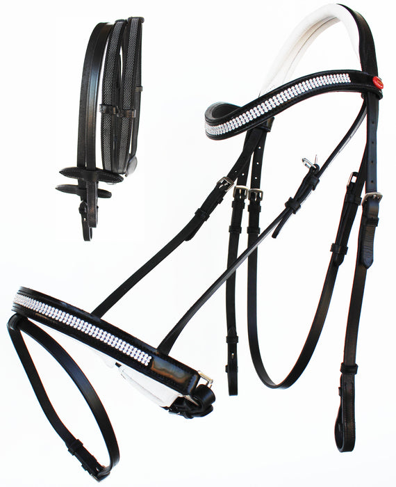 English Horse All Purpose Padded Leather Removeable Flash Bridle Reins 803478