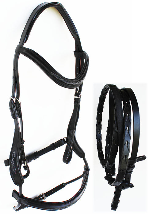 Horse English Leather COB  Padded Riding Raised Adjustable Flash Bridle Reins 803S45-C