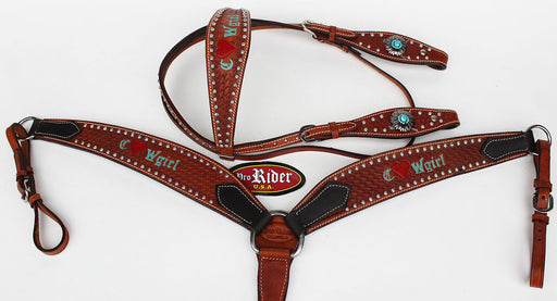 Horse Tack Bridle Western Leather Headstall BreastCollar Turquoise 8051B