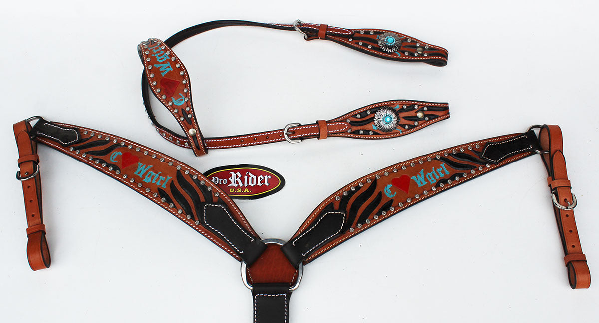 Horse Tack Bridle Western Leather Headstall BreastCollar Turquoise 8061