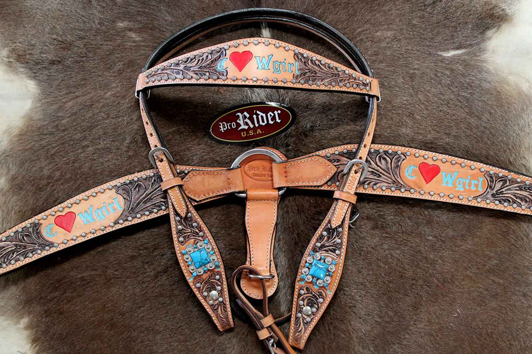 Horse Tack Bridle Western Leather Headstall BreastCollar Turquoise 8085