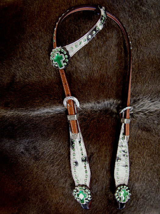 Show Tack Horse Bridle Western Leather Headstall Lime Green 8271