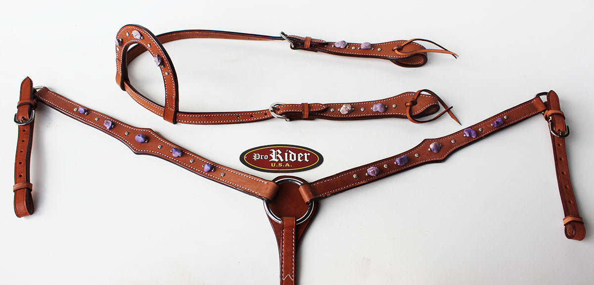 Horse Show Tack Bridle Western Leather Headstall Breast Collar Purple 8318