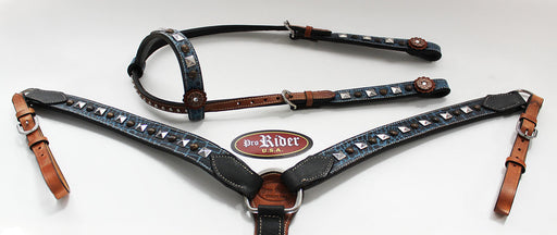 Horse Show Tack Bridle Western Leather Headstall Breast Collar 8412A