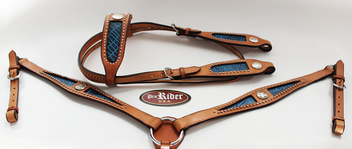 Horse Show Tack Bridle Western Leather Headstall Breast Collar Blue 8423