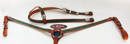 Horse Show Tack Bridle Western Leather Headstall Breast Collar Blue 8432