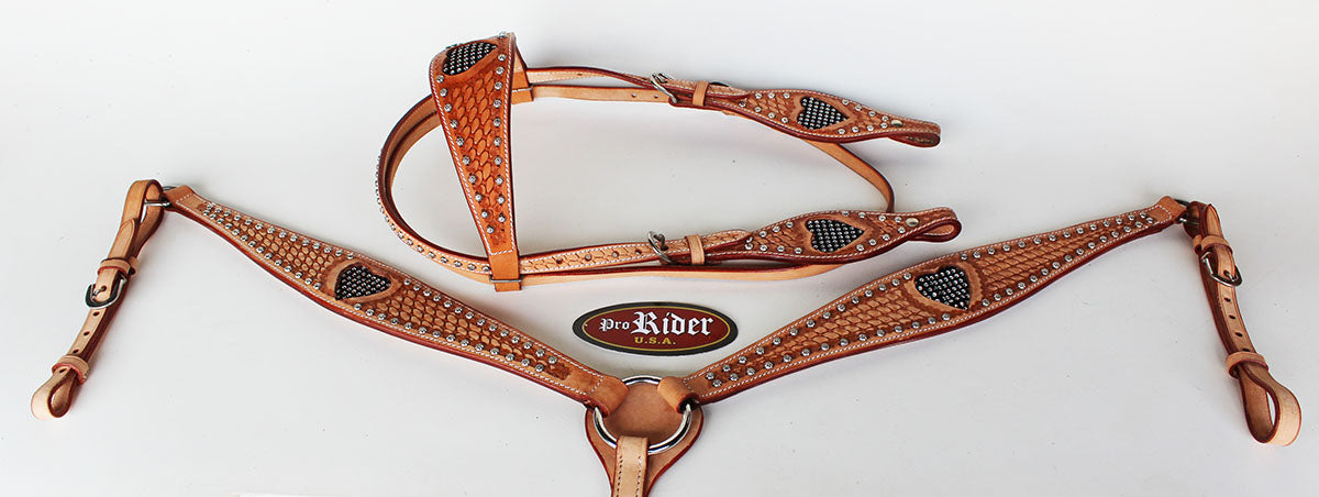 Show Tack Bridle Western Leather Rodeo Headstall Breast Collar 8566