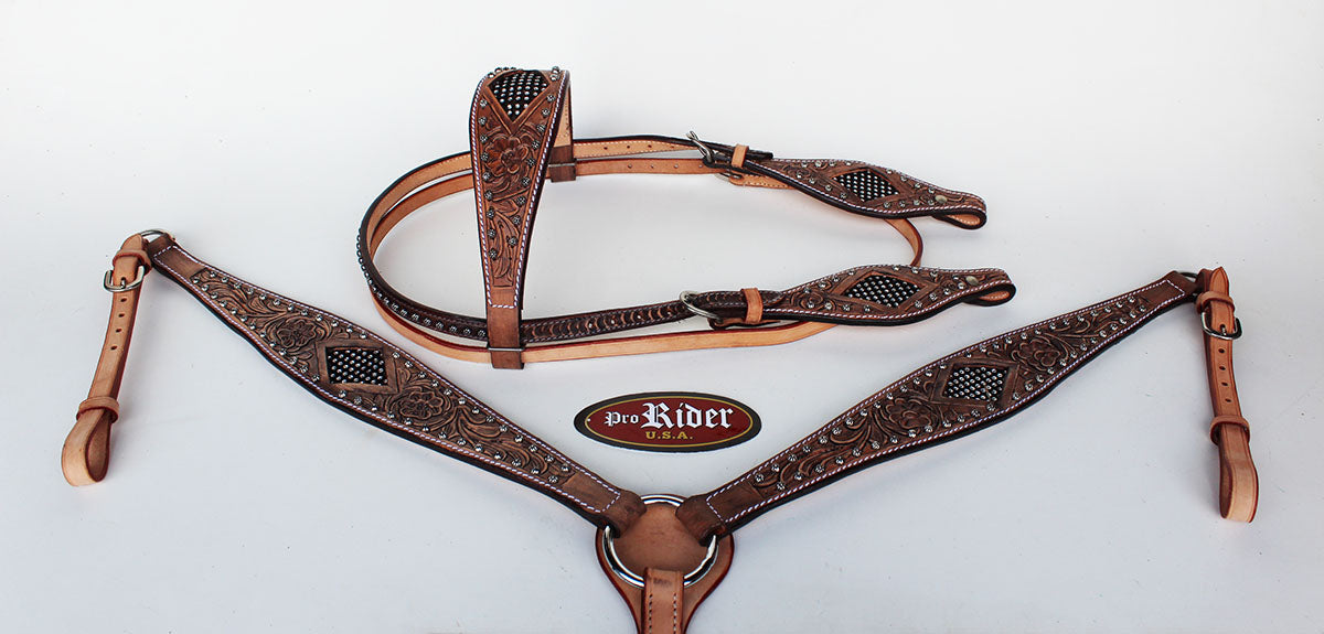 Show Tack Bridle Western Leather Rodeo Headstall Breast Collar 8570