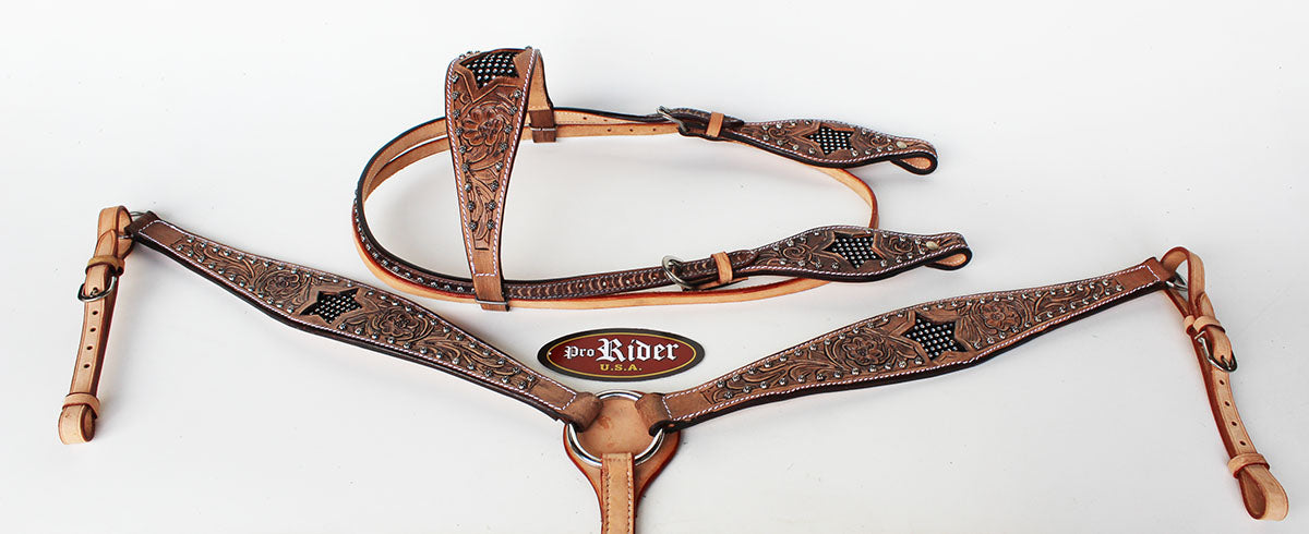 Horse Show Tack Bridle Western Leather Headstall Breast Collar 8580B