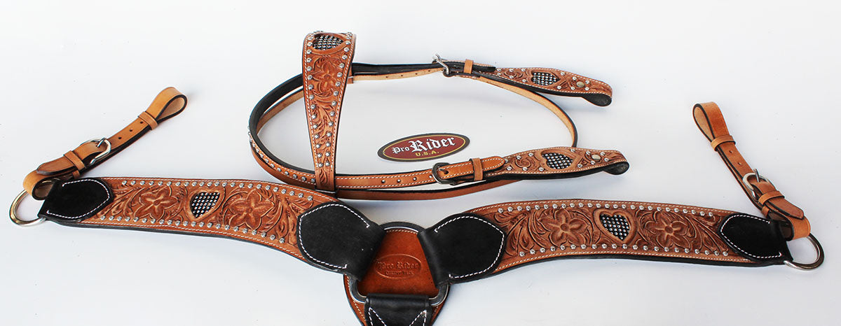 Show Tack Bridle Western Leather Rodeo Headstall Breast Collar 8583