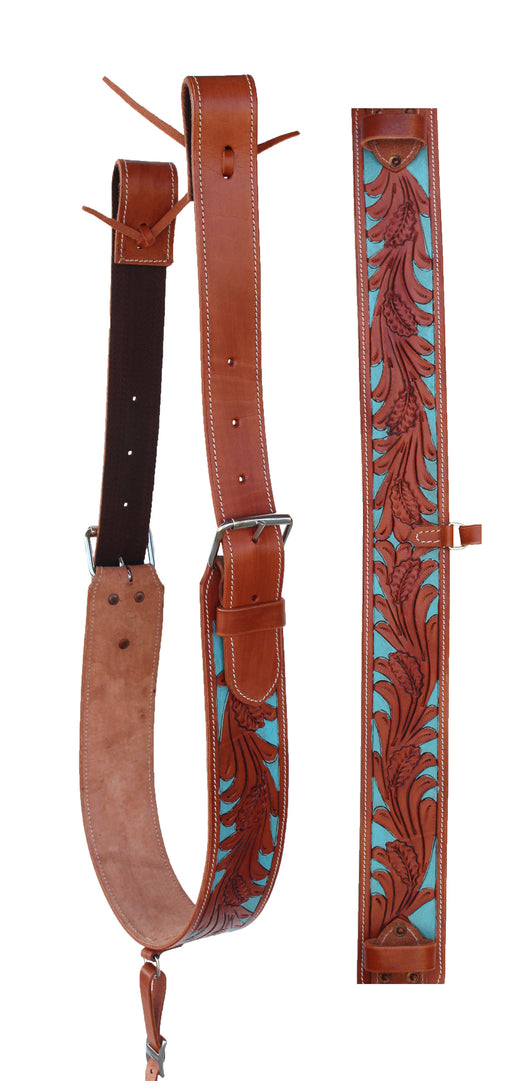 Horse Western Leather Floral Tooled Back Rear Cinch Flank w/ Off Billets 9761A
