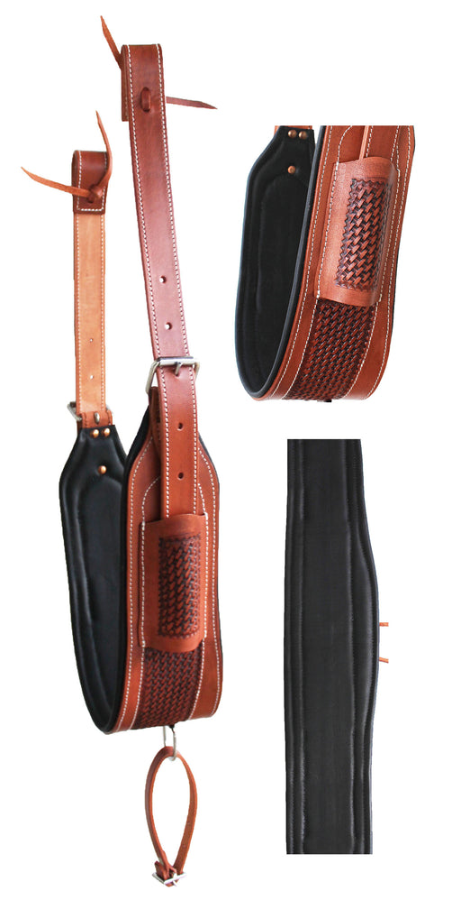 Horse Western Tooled Padded Leather Rear Flank Back Saddle Cinch Billets 9782TN