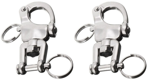 "Lot of 2 90MM (3.5"") Stainless Steel Multi-Purpose Quick Release Marine Bail Jaw Swivel Snap 98496A"