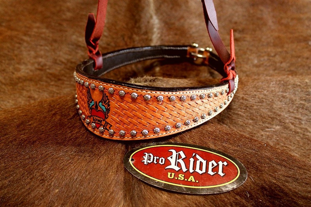 Horse Show Bridle Western Leather Barrel Racing Tack Rodeo Noseband  9921