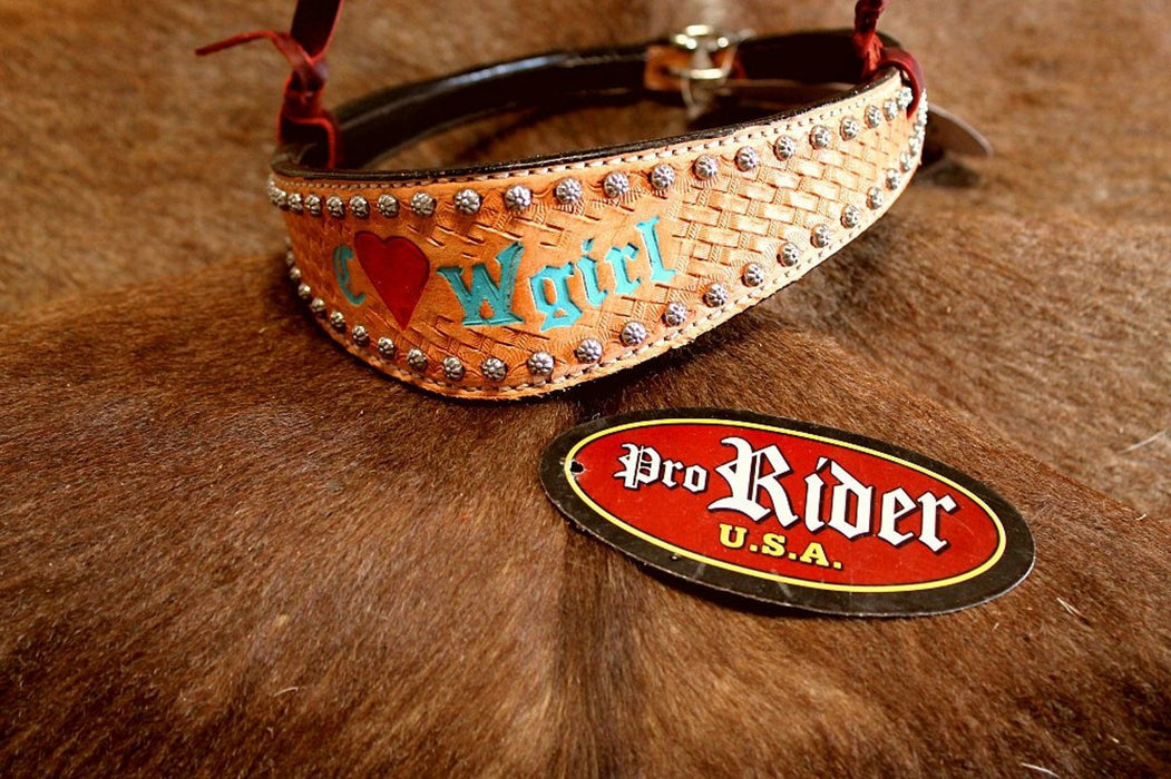 Horse Show Bridle Western Leather Barrel Racing Tack Rodeo Noseband  9948