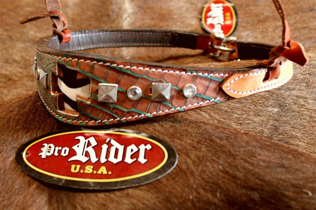 Horse Show Bridle Western Leather Barrel Racing Tack Rodeo Noseband  9976