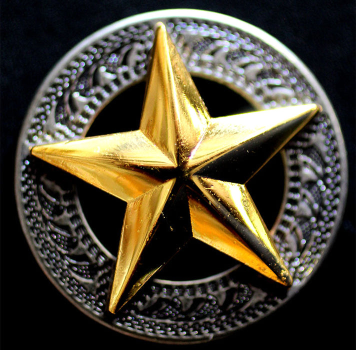 Lot of 4 Texas Star Conchos Concho Horse Saddle Western Tack Bridle Golden CO255