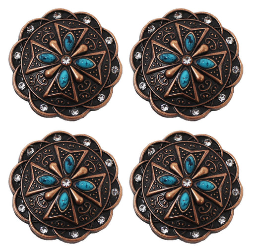 "Set of 4 1-1/2"" Western Screw Back Copper Turquoise Rhinestone Conchos CO224B"