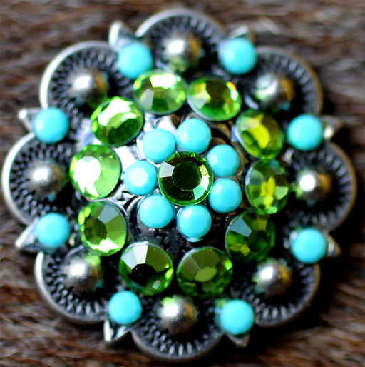 4 Concho Rhinestone Horse Saddle Bridle Tack Western Berry Turquoise Green CO30