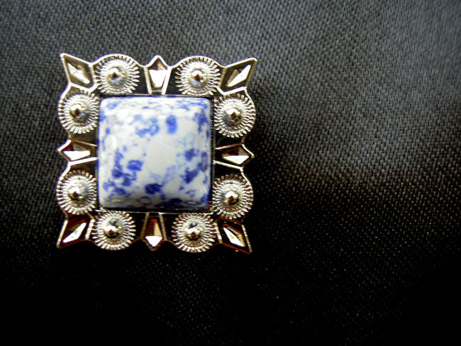 4 Conchos Rhinestone Horse Saddle Western  Blue Square CO36