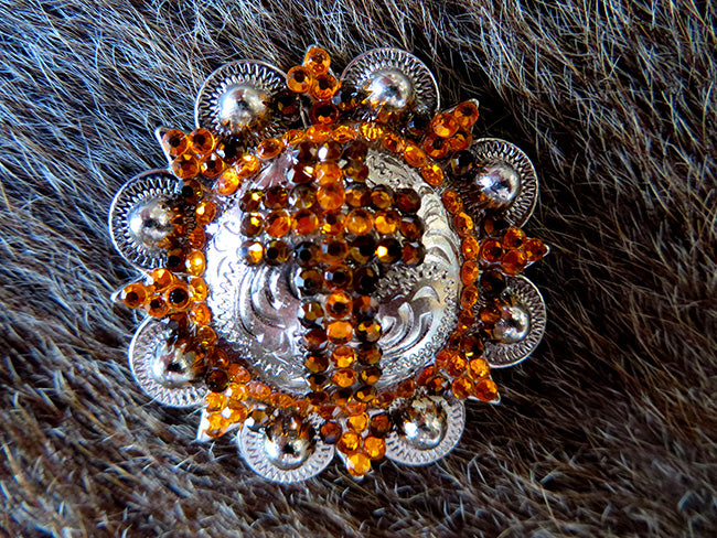 4 Conchos Rhinestone Horse Saddle BRIDLE Western Berry CROSS ORANGE SCREW CO431
