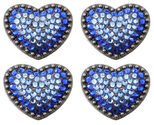 Lot of 4 Heart Love Conchos Concho Rhinestone Horse Saddle Western Blue CO44